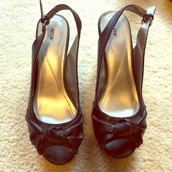 acfe5e8f646f84 Apt. 9 Shoes - Apt 9 Women s Black Peep-toe wedge heels